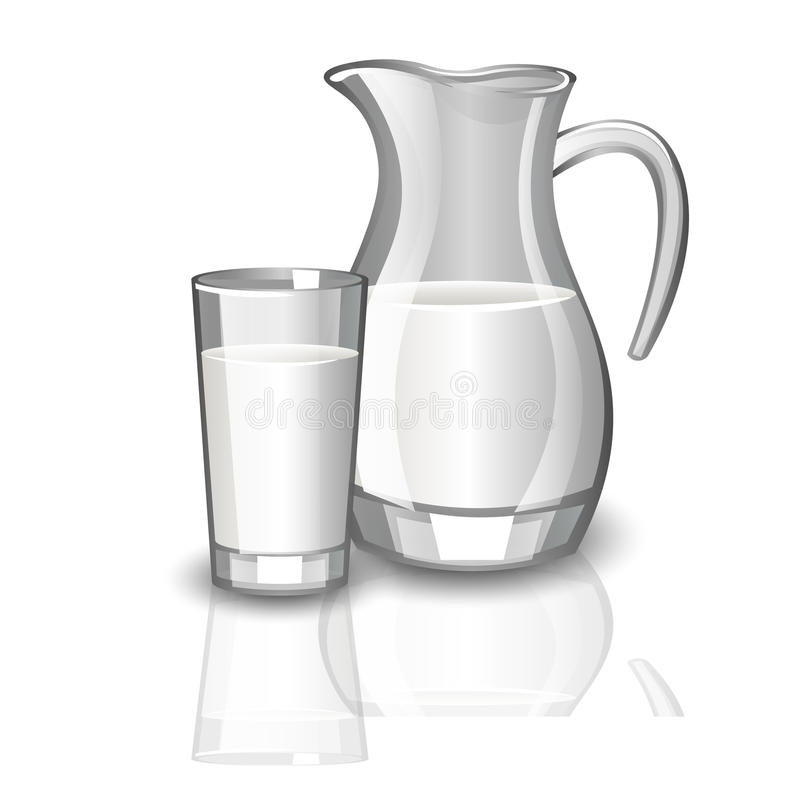 Milk carafe, cup of milk. stock illustration