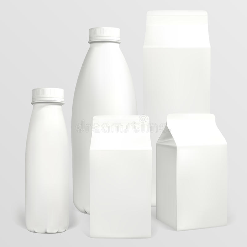 Milk carton. Set of milk cartons. Each object can be used separately. Illustration contains gradient meshes royalty free illustration
