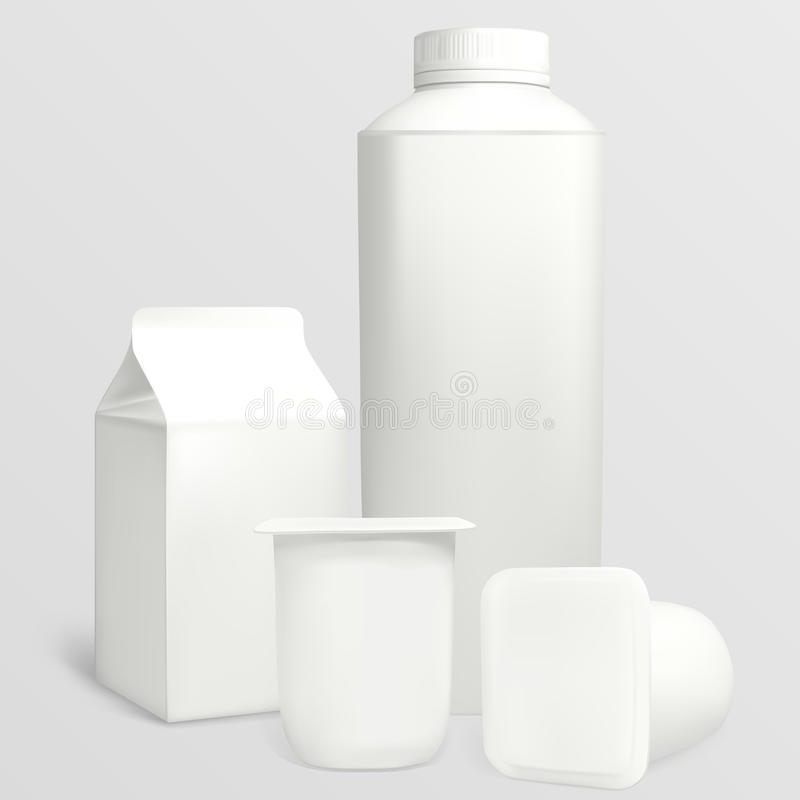 Milk carton. Set yoghurt cartons. Each object can be used separately. Illustration contains gradient meshes royalty free illustration