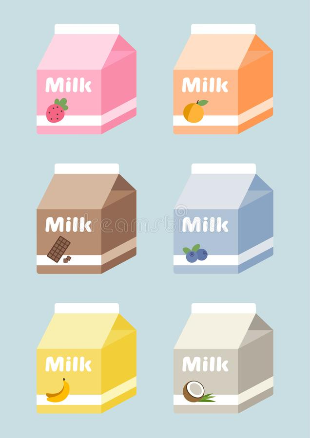 Milk cartons set with strawberry, peach, chocolate, blueberry, banana, coconut royalty free stock photos