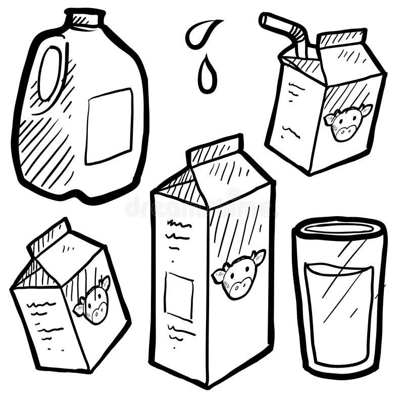Milk cartons sketch stock illustration