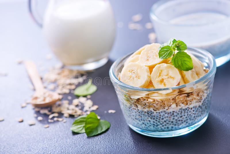Milk with chia seeds and banana royalty free stock image
