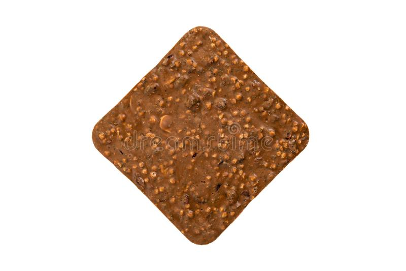 Milk chocolate bar with nuts and rice krispies isolated on white background stock photography