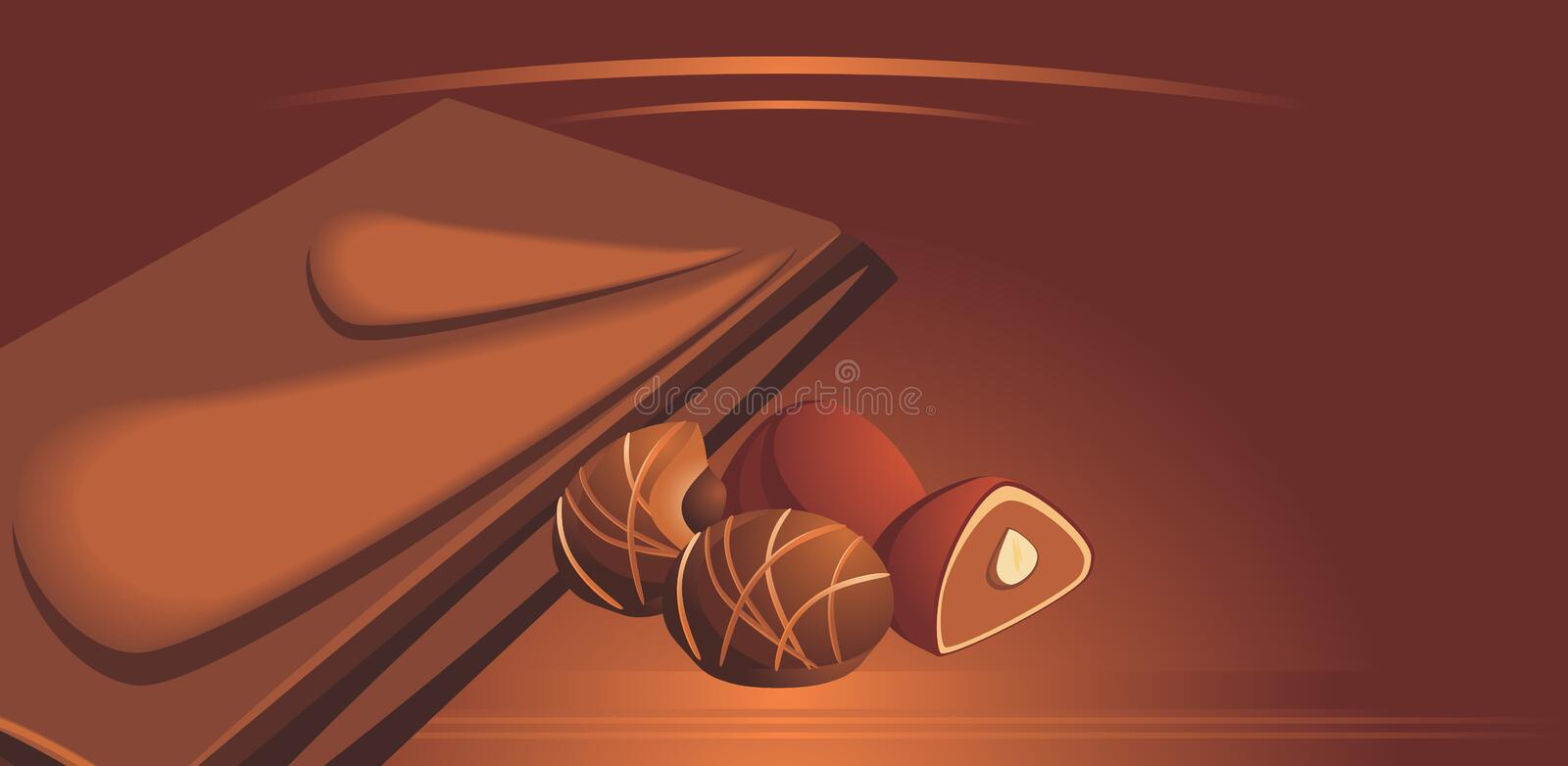 Milk chocolate and candies royalty free illustration