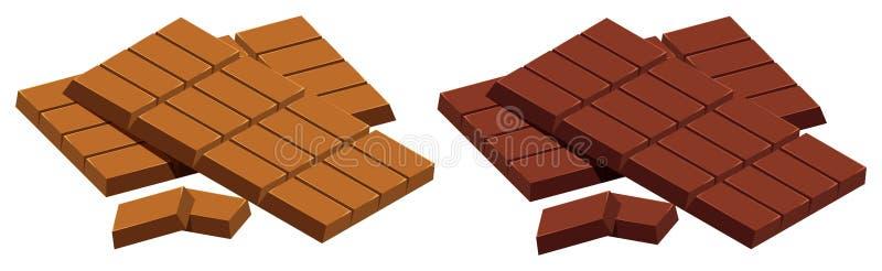 Milk chocolate and dark chocolate on white background vector illustration