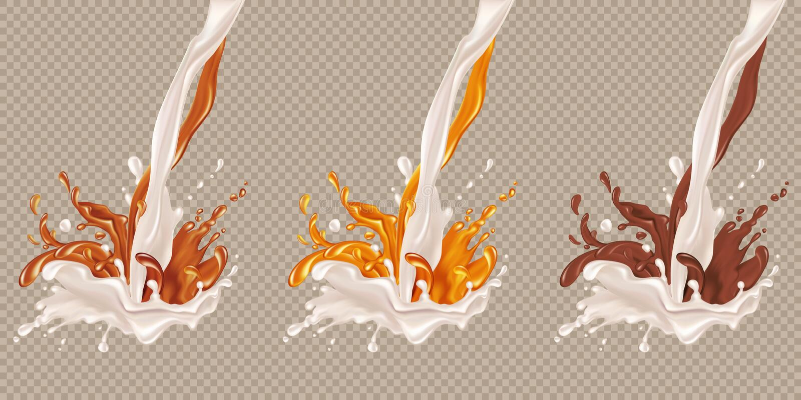 Milk and chocolate flow. vector illustration