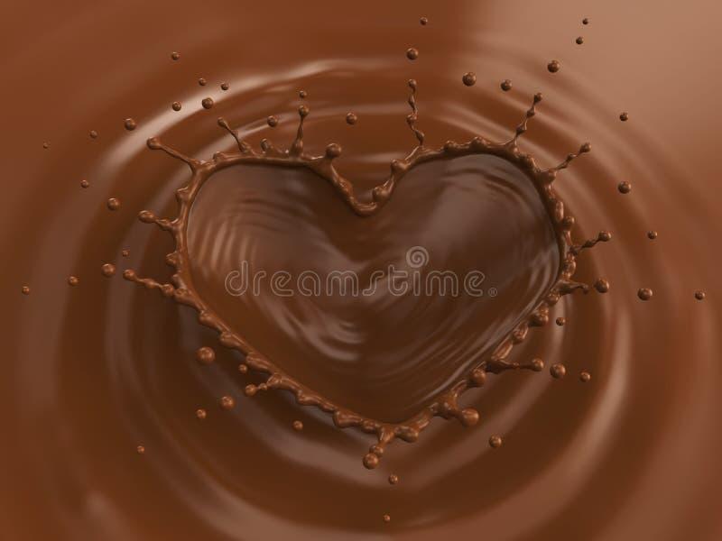 Milk Chocolate Heart Shaped Crown Splash stock illustration