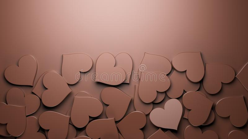 Milk chocolate hearts. Background. Concept for Valentine`s Day, Women`s Day, and others. 3D Rendering royalty free illustration