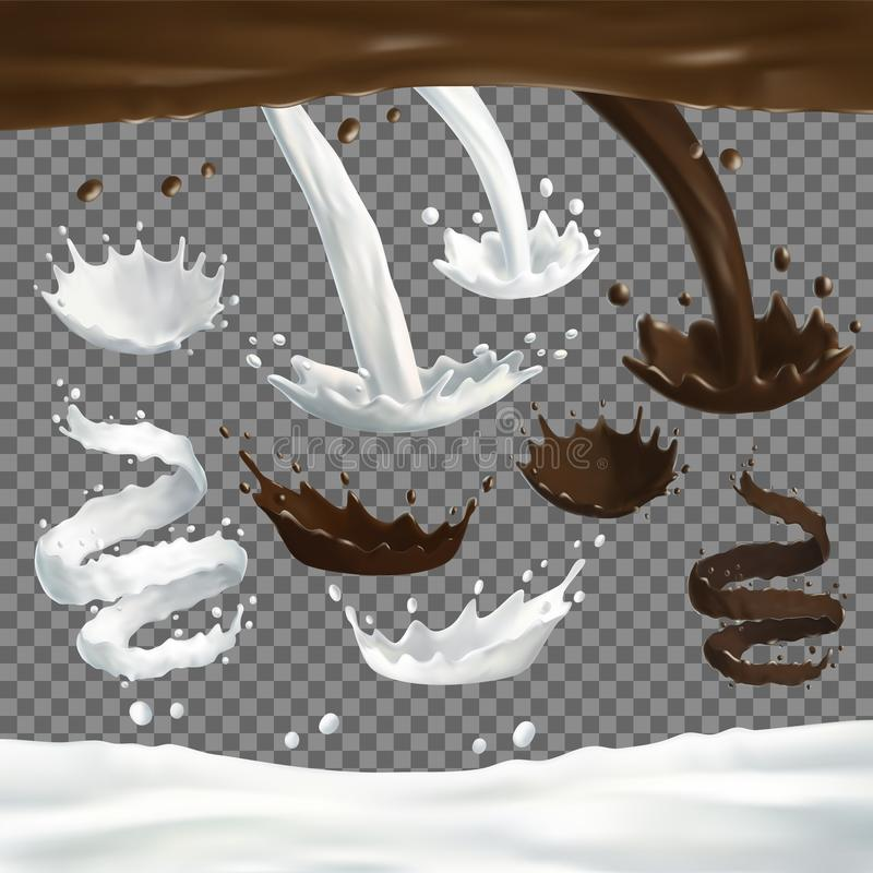 Milk and chocolate jets splashes, drops and blots royalty free illustration