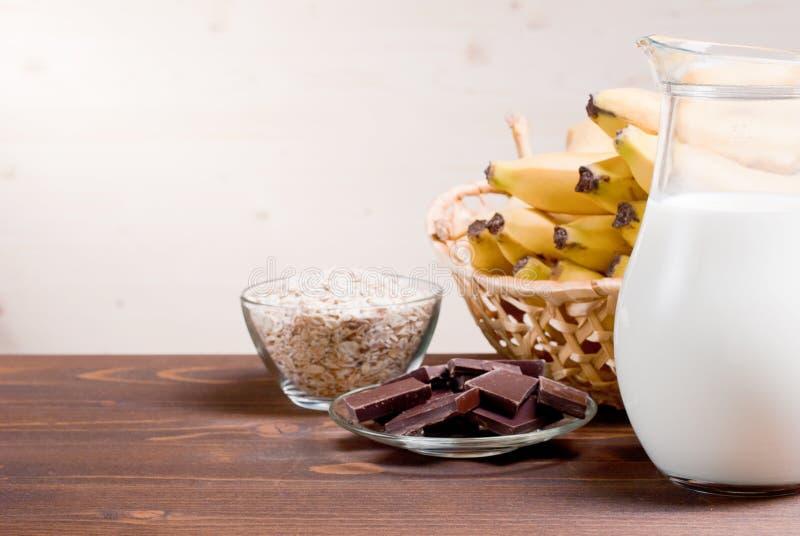 Milk chocolate oatmeal bananas countess. Milk chocolate oatmeal banana countess royalty free stock photo