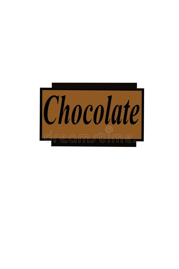 Milk Chocolate piece. With black border. Word chocolate text across stock illustration