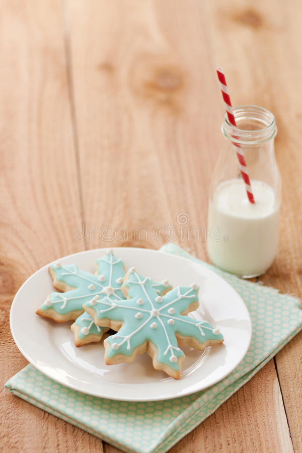 Download Milk and Christmas cookies stock photo. Image of stripes - 20958428