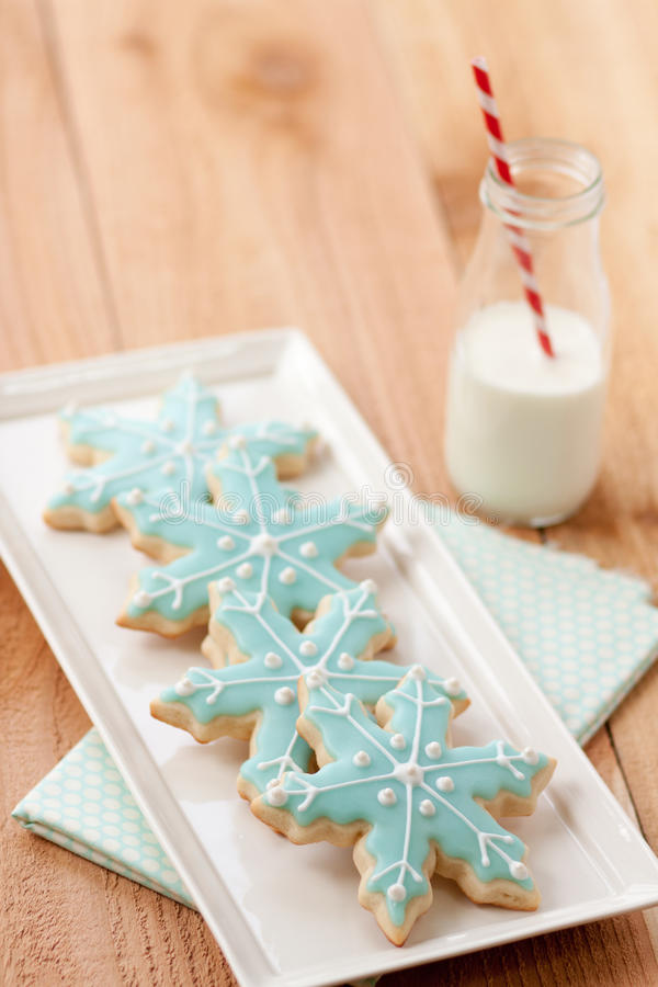 Milk and Christmas cookies royalty free stock photo