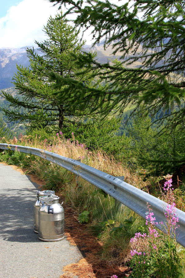 Download Milk Churns In Valley Of Valgrisenche River, Italy Stock Image - Image: 25051741