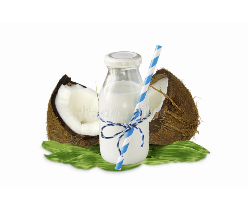 Milk of coconut and fresh coconuts isolated on white background. royalty free stock images