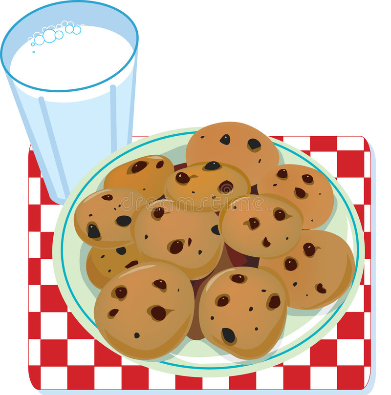 Milk and Cookies. A glass of milk and a plate of cookies vector illustration