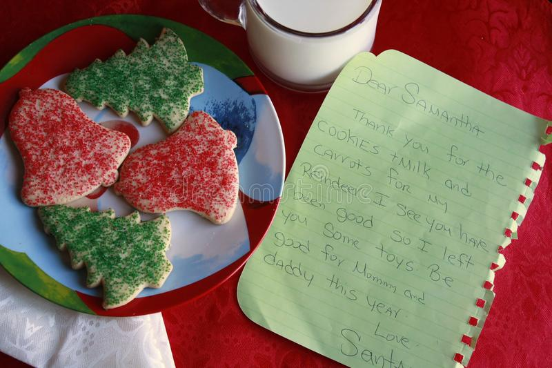 Milk and cookies for santa and letter from santa stock photo
