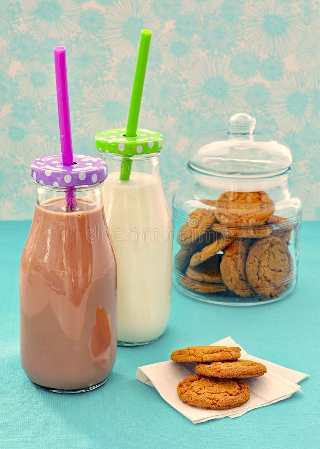 Milk and cookies after school snack royalty free stock images