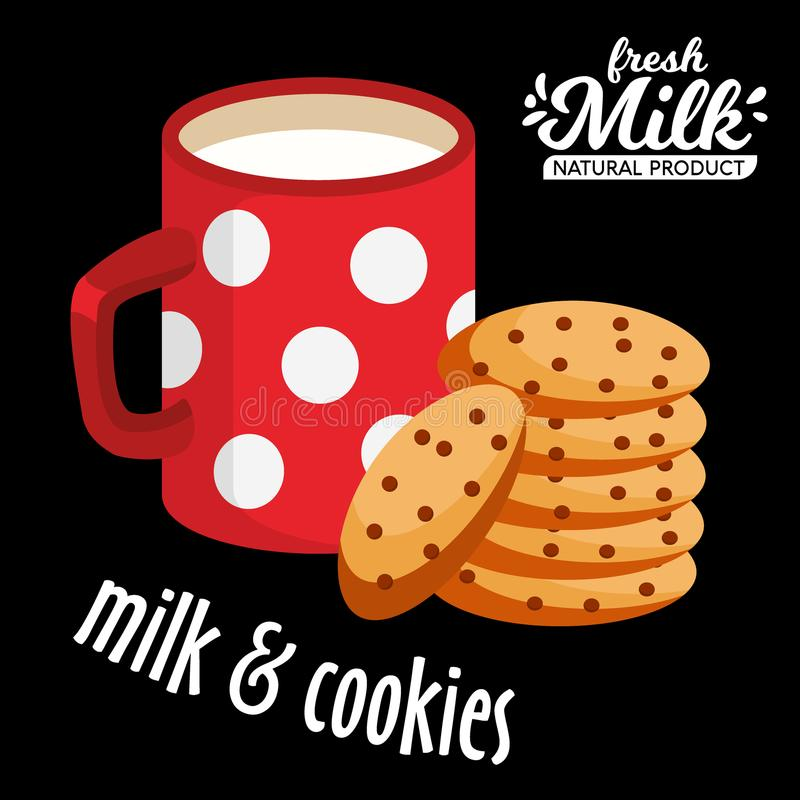Milk and cookies vector icon. Chocolate cookies and a red cup of hot milk vector vector illustration