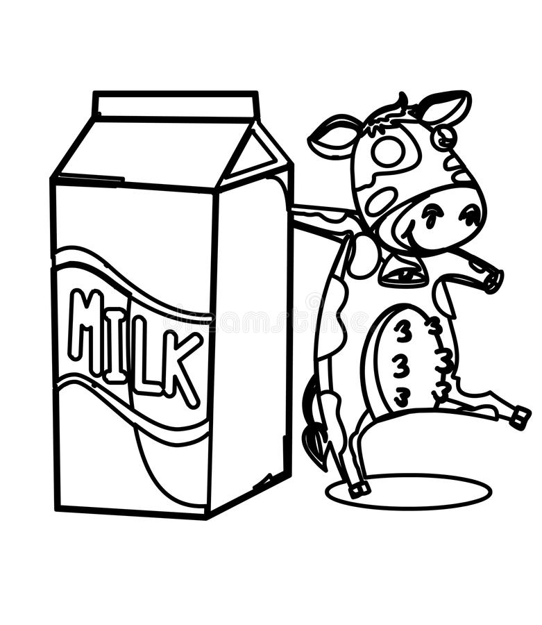 download milk with a cow coloring page stock illustration illustration of elementary drawn