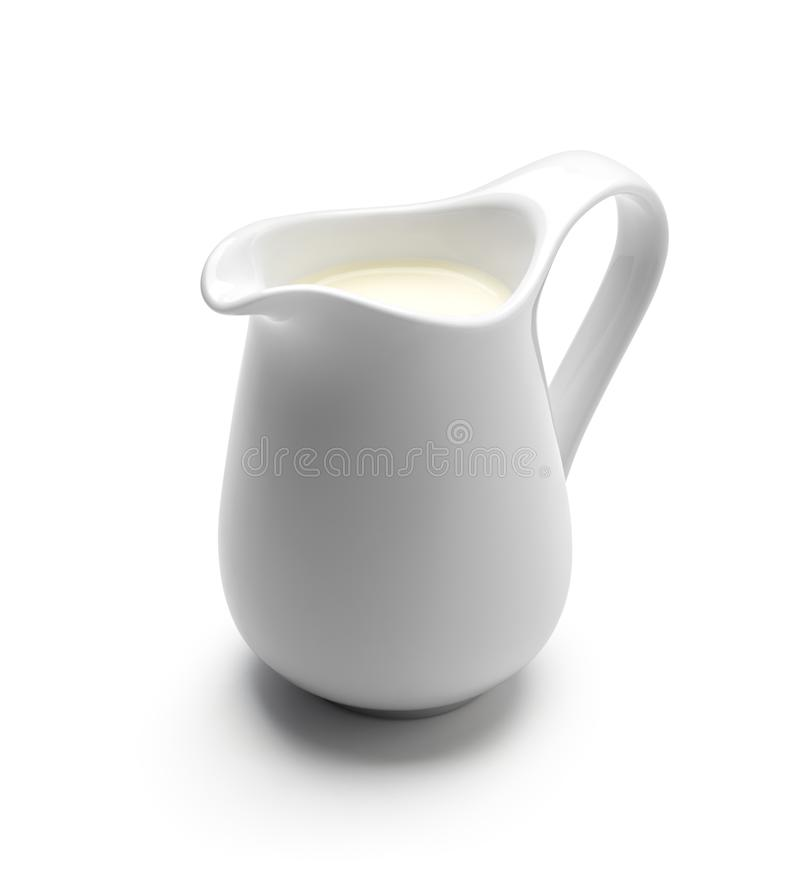 Milk or cream jug. Isolated on white background stock photos