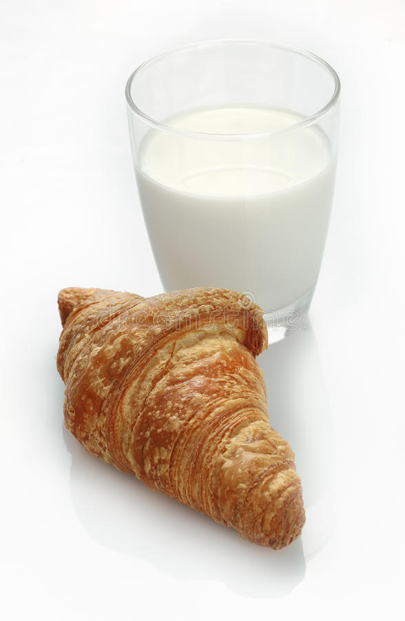 Milk And Croissant Snack Stock Image