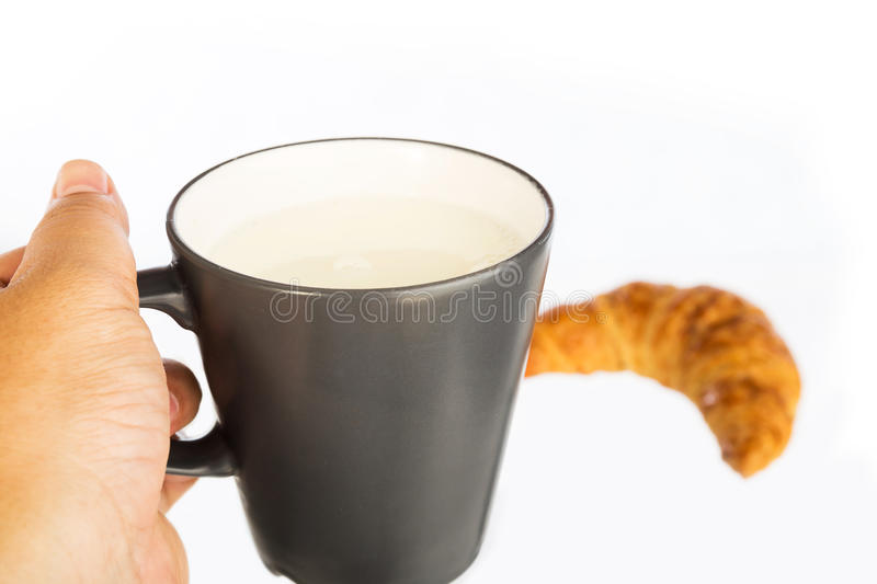 Milk with Croissant royalty free stock photo