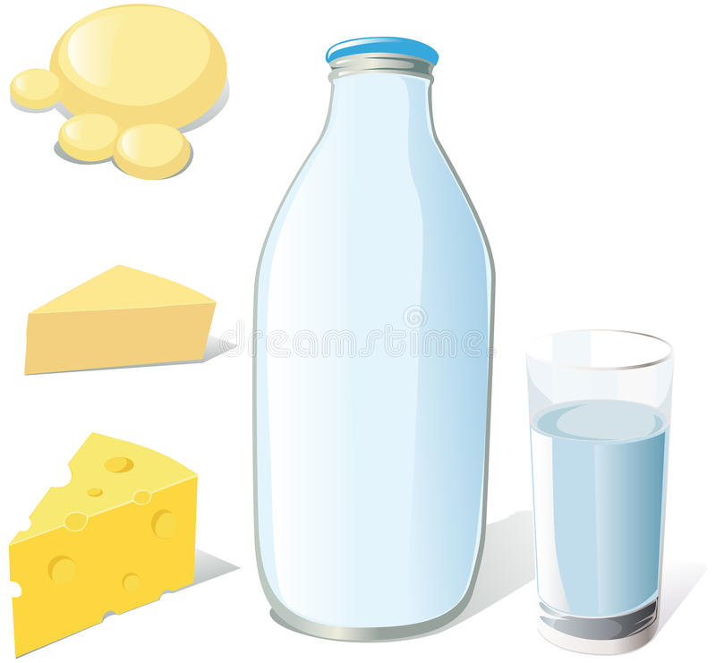 Download Milk and dairy food stock vector. Image of healthy, dairy - 26653216