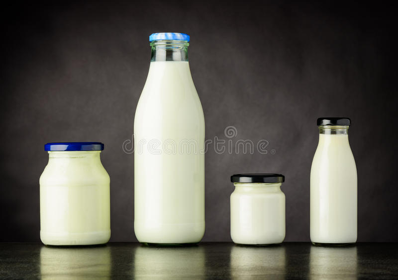 Milk and Dairy Products in Bottle and Jar stock photos
