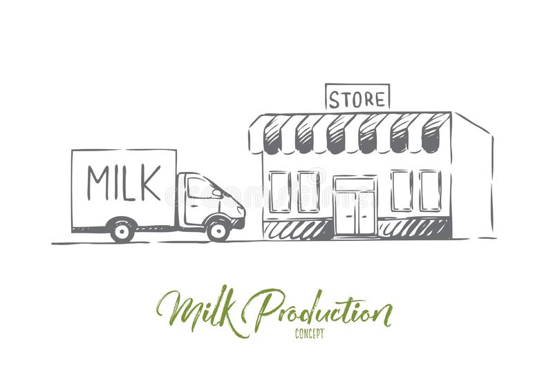 Milk, delivery, fresh, bottle, shop concept. Hand drawn isolated vector. vector illustration