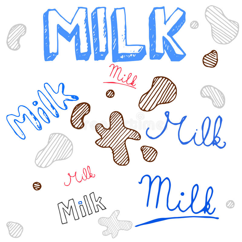 Milk doodle sketch, vector set. Handmade sketch of milk signs and stains, Illustration vector set royalty free illustration