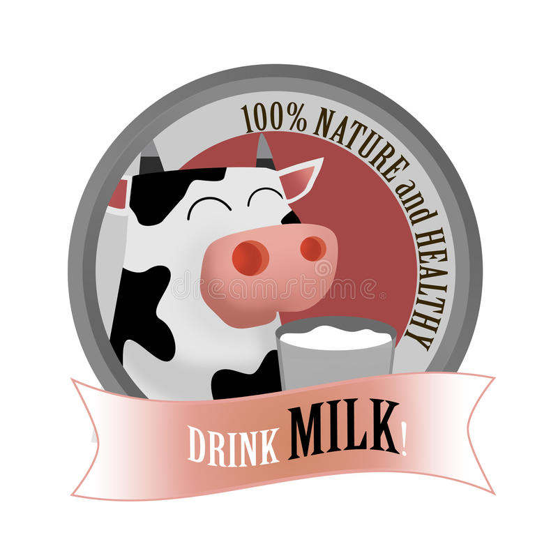Milk drink label. Nature and healthy drink milk label with cartoon funny cow holding a cup of milk royalty free illustration
