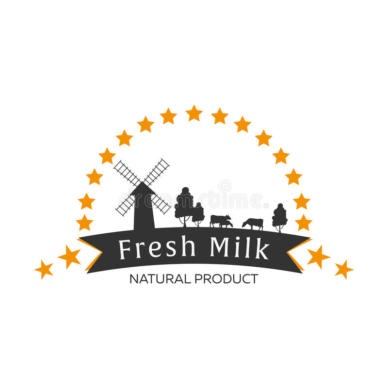 Milk emblem, labels, logo and design elements. Fresh and natural milk. Milk farm. Cow milk. Vector logotype design. vector illustration