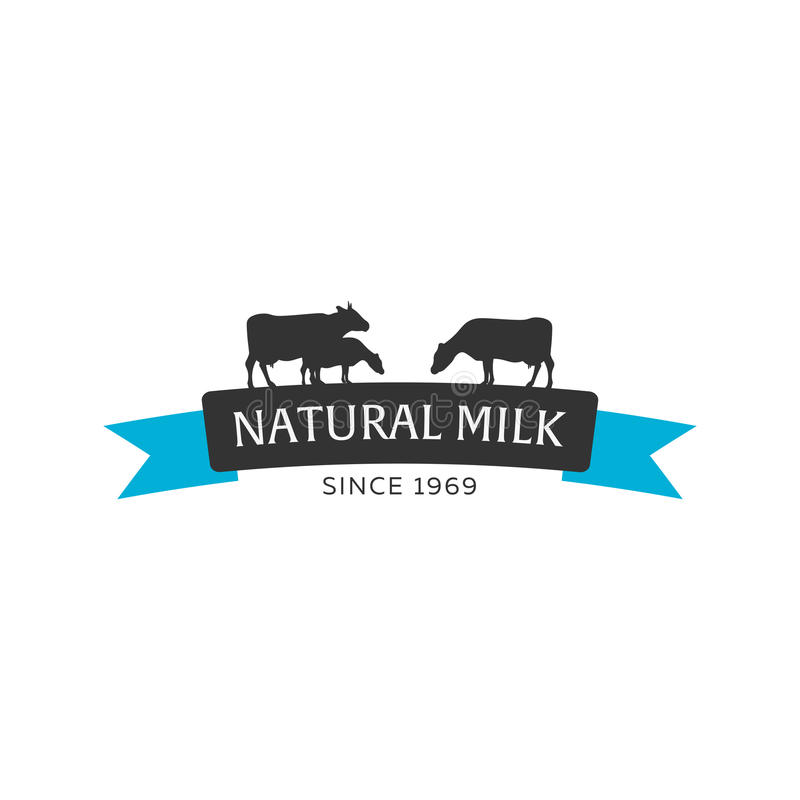 Milk emblem, labels, logo and design elements. Fresh and natural milk. Milk farm. Cow milk. Vector logotype design. Milk emblem, labels, logo and design vector illustration