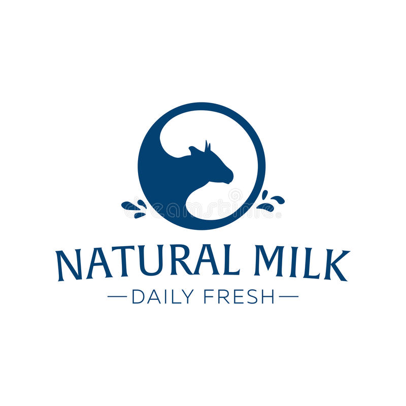 Milk emblem, labels, logo and design elements. Fresh and natural milk. Milk farm. Cow milk. Vector logotype design. Milk emblem, labels, logo and design royalty free illustration