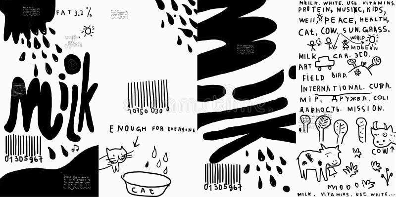 Milk förpacka royaltyfri illustrationer