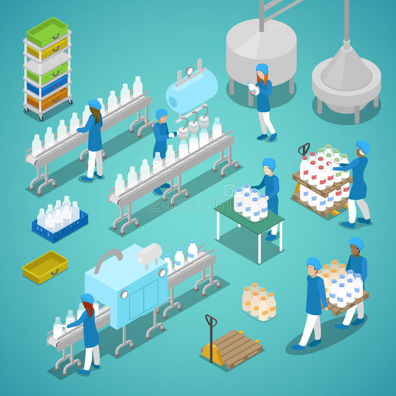 Milk Factory. Automated Production Line in Dairy Plant with Workers. Isometric flat 3d illustration. Milk Factory. Automated Production Line in Dairy Plant with vector illustration