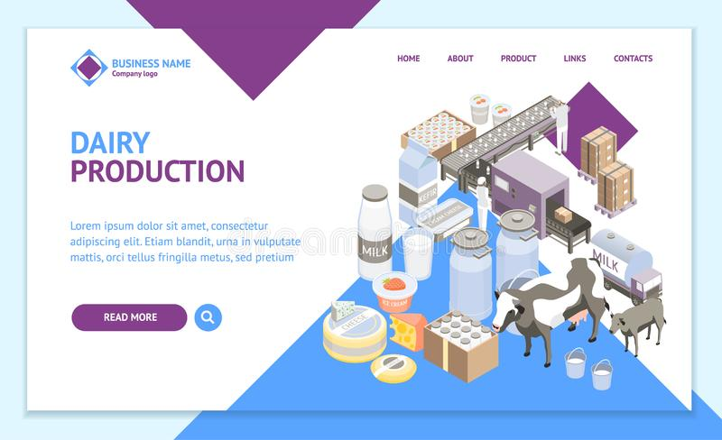 Milk Factory Landing Web Page Template 3d Isometric View. Vector. Milk Factory Signs 3d Landing Web Page Template Isometric View Include of Bottle, Cow and vector illustration