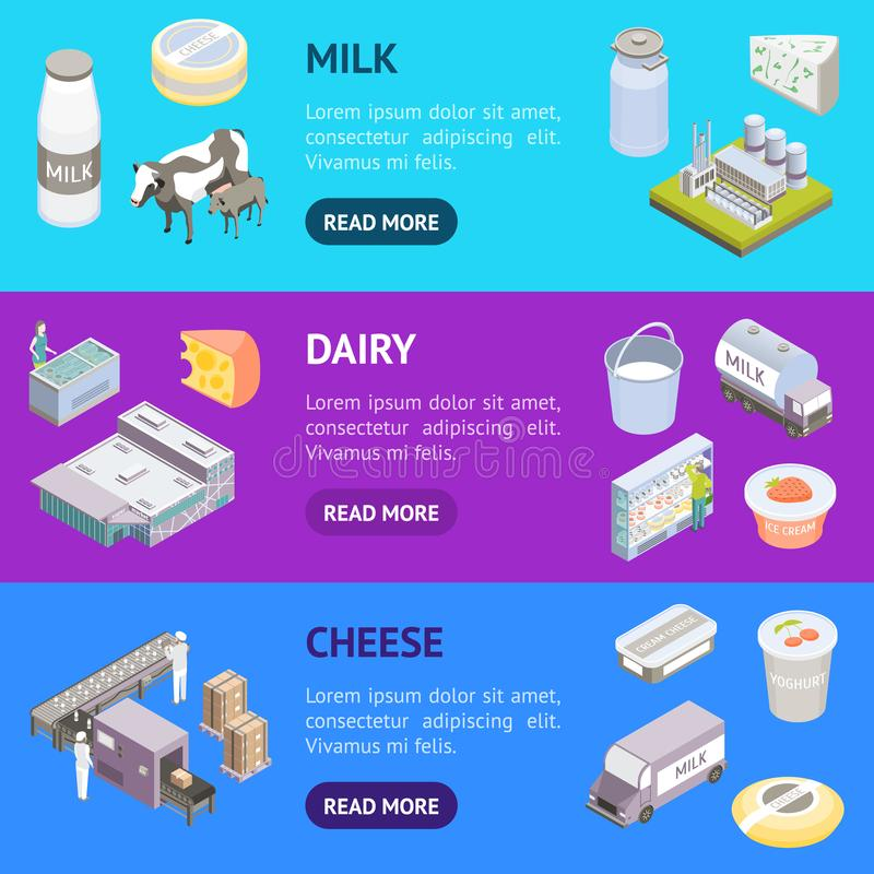 Milk Factory Signs 3d Banner Horizontal Set Isometric View. Vector. Milk Factory Signs 3d Banner Horizontal Set Isometric View Include of Bottle, Cow and Machine stock illustration