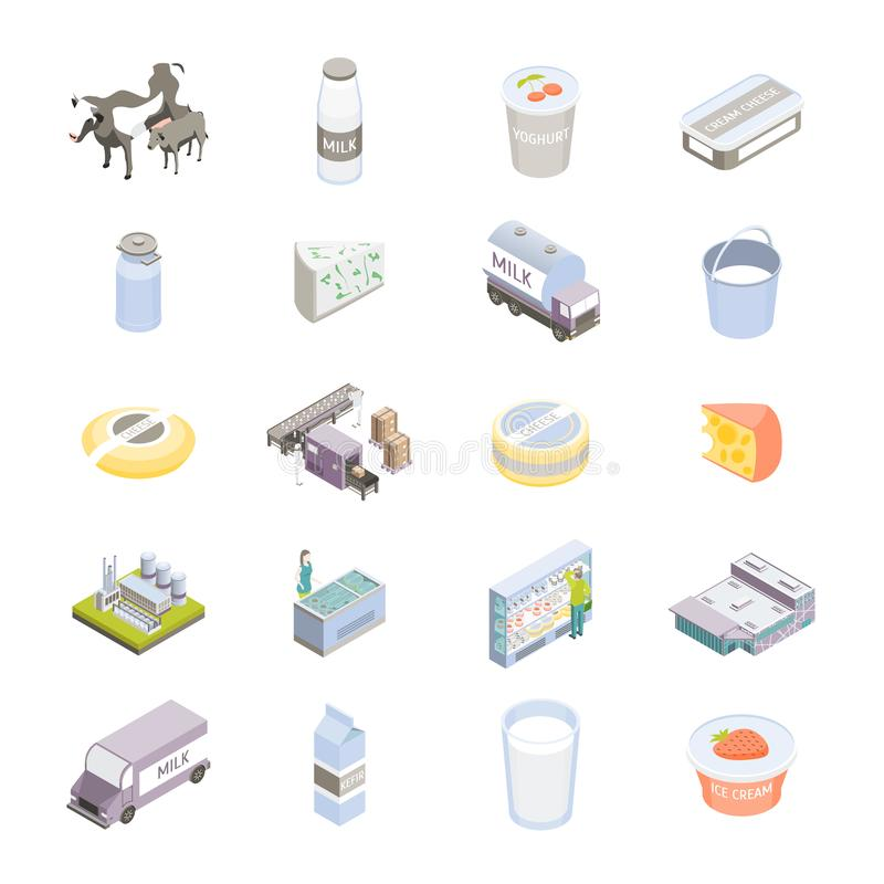 Milk Factory Signs 3d Icon Set Isometric View. Vector. Milk Factory Signs 3d Icon Set on a White Isometric View Include of Bottle, Cow and Machine. Vector royalty free illustration