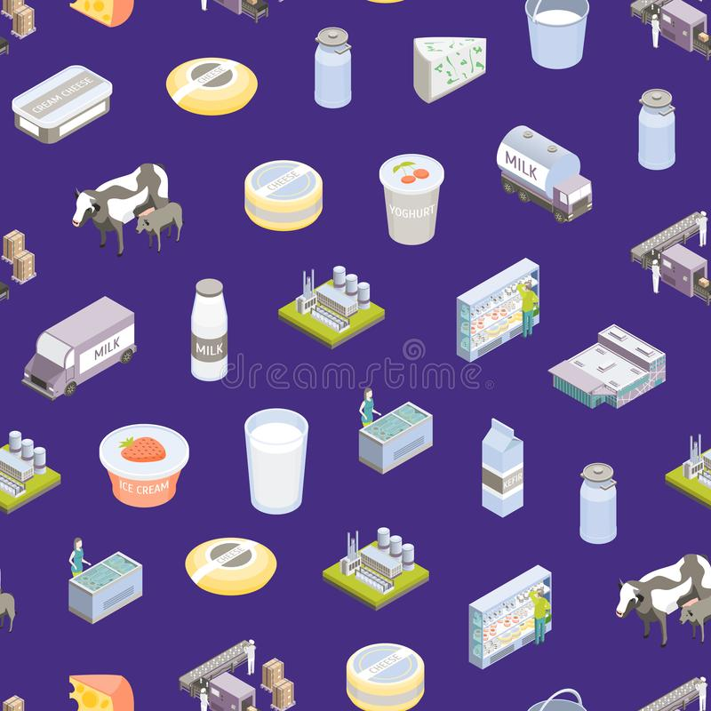 Milk Factory Signs 3d Seamless Pattern Background Isometric View. Vector. Milk Factory Signs 3d Seamless Pattern Background Isometric View Include of Bottle, Cow stock illustration