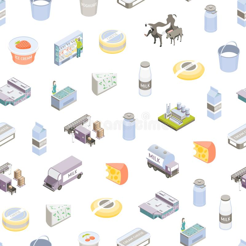 Milk Factory Signs 3d Seamless Pattern Background Isometric View. Vector. Milk Factory Signs 3d Seamless Pattern Background on a White Isometric View Include of royalty free illustration