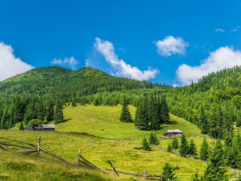 Milk farm in the mountains royalty free stock image