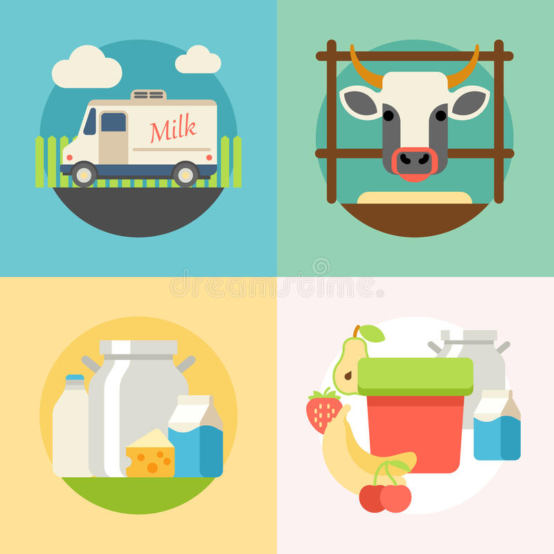 Milk flat banner set with manufacture of dairy vector illustration
