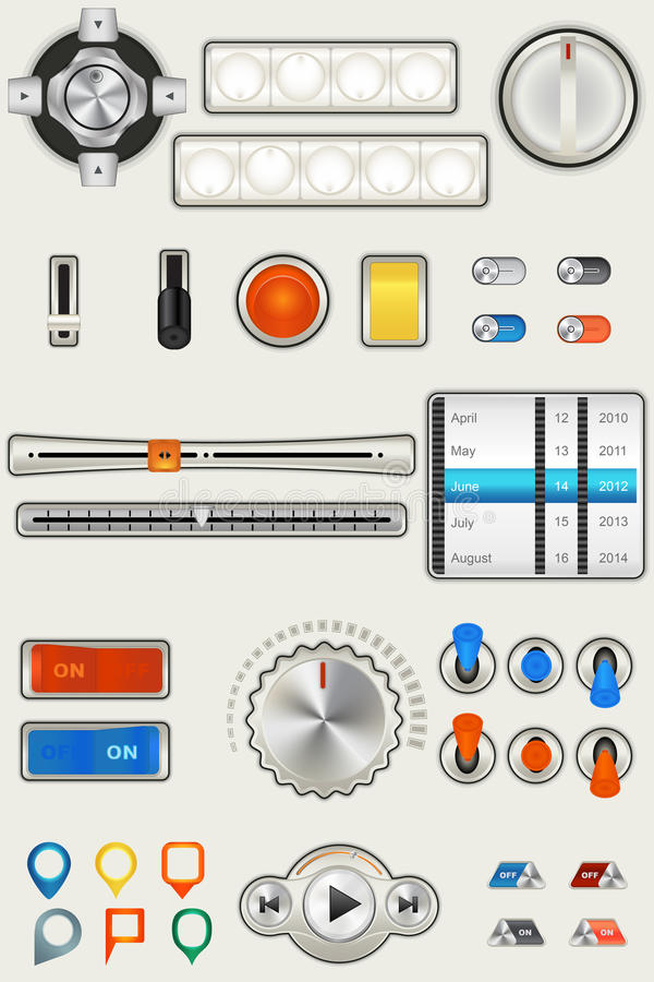 Download Milk Gui stock vector. Image of pins, button, switch - 26124738