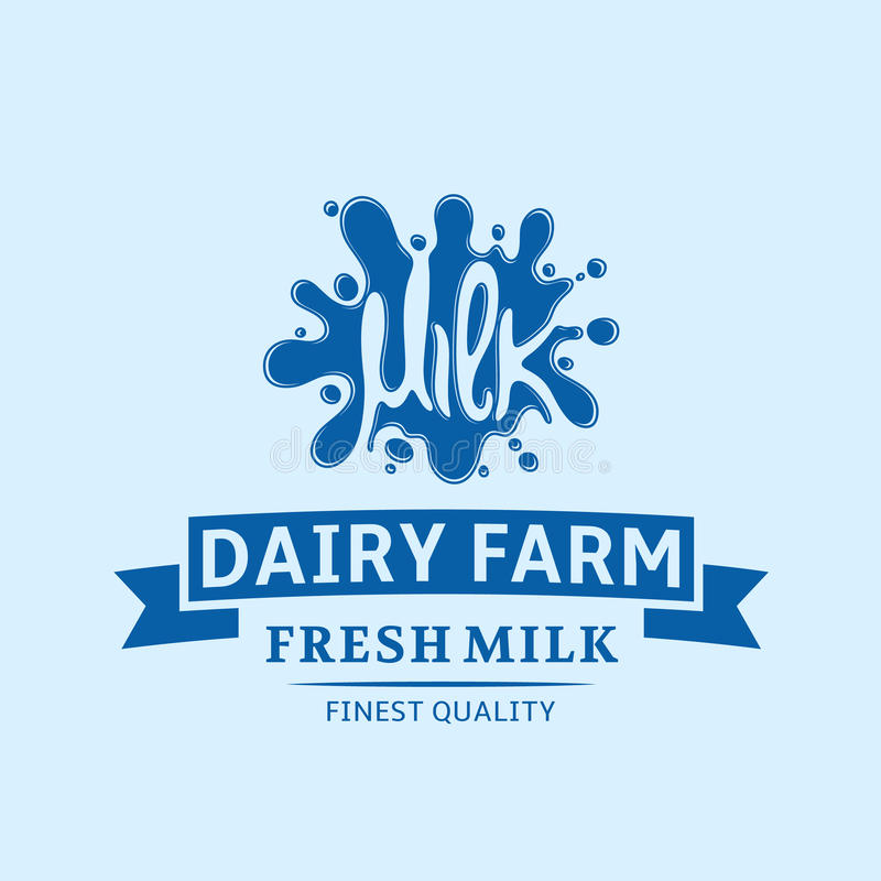 Milk Icon. Milk, Yogurt or Cream Blot. Milk Logo Template. Milk logo template. Milk label with sample text. Milk icon for groceries, agriculture stores royalty free illustration