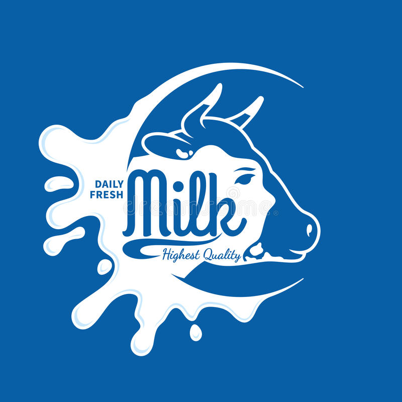 Milk Icon, Splash, Logo Template. Milk logo template. Milk label with sample text. Milk icon for groceries, agriculture stores, packaging and advertising. Vector royalty free illustration