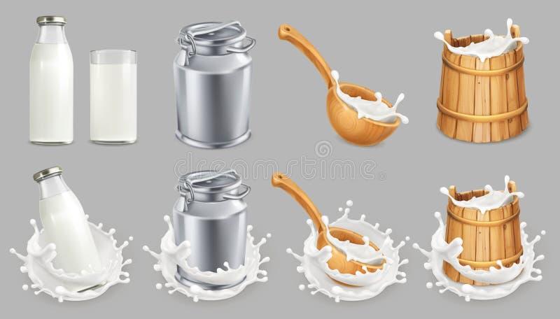 Milk kan och färgstänk Naturliga mejeriprodukter symboler för pappfärgsymbol ställde in vektorn för etiketter tre royaltyfri illustrationer