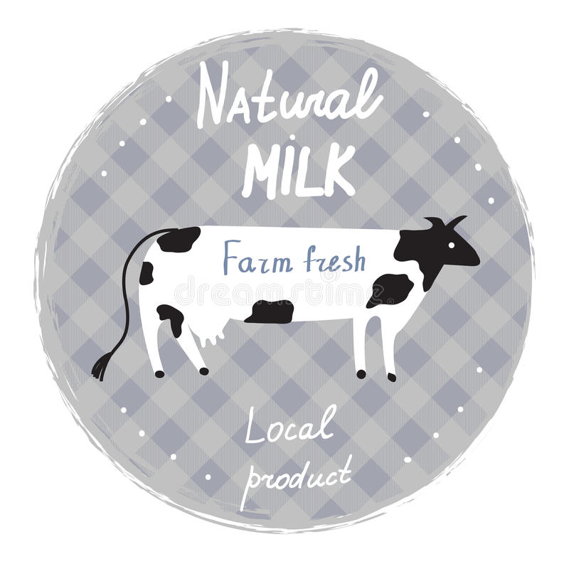Milk label with cow and frame - template for organic farm. Illustration vector illustration