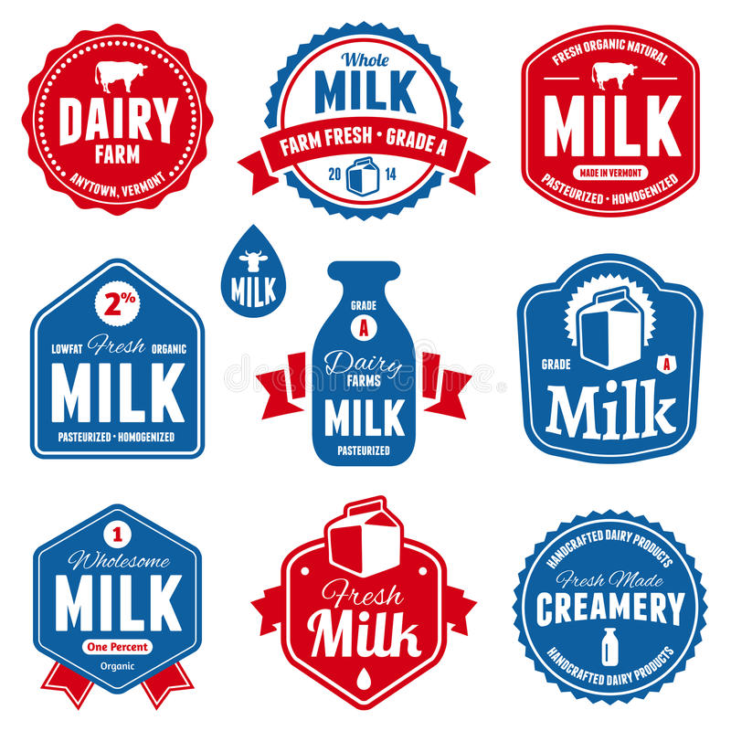 Download Milk labels stock vector. Image of freshness, badge, agriculture - 32243633